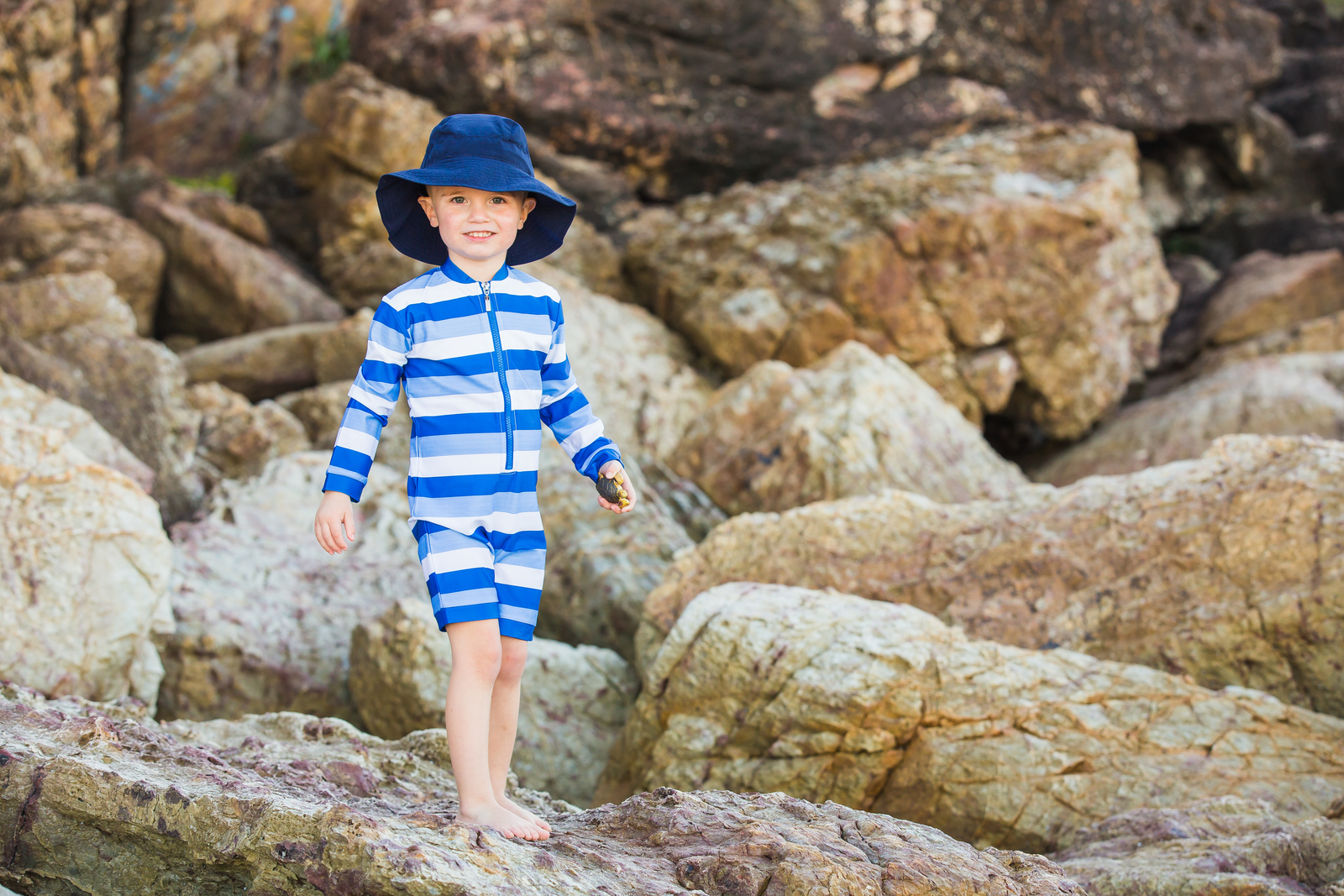 Sea Stripe UV Suit and Hat Bundle
